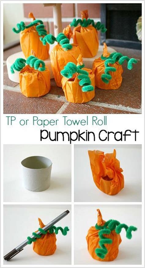 crafts using paper towel rolls cardboard pumpkin craft for paper towel rolls
