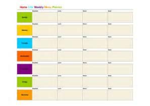 printable weekly menu template bing images clean