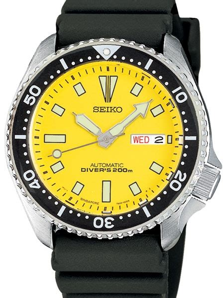 crown rubber st seiko yellow automatic dive with offset crown