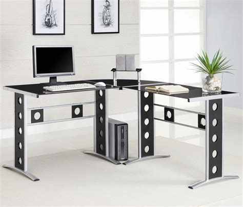 cool modern desks coaster modern l shape desk with silver frame black