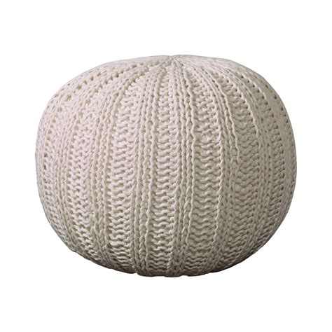 Oval Office Furniture bungalow rose canala hand knitted traditional pouf ottoman