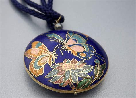 vintage cloisonne vintage cloisonne necklace blue vintage costume jewelry