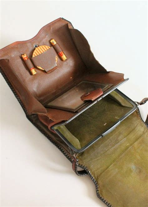 tooled leather goods vintage 1920s tooled leather purse with makeup compartment