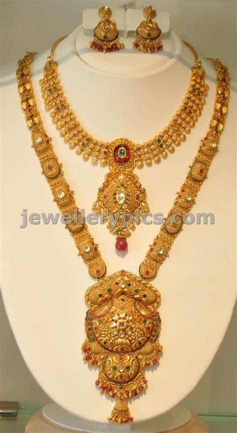 gold necklace designs with khazana gold haram necklace designs
