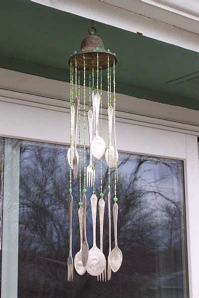 out of silverware recylced garden silverware wind chime what s the