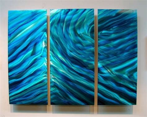 Direct Selling Home Decor 3 piece set of metal panel wall art vibrant blue amp teal