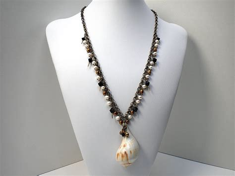 shell jewelry s shells pear whelk shell necklace with freshwater pearls