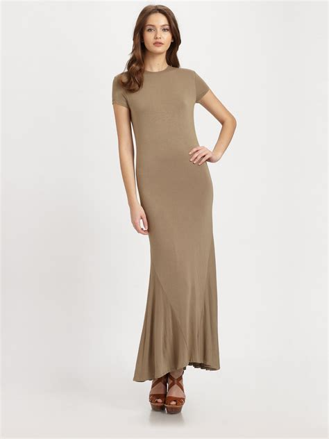 jersey knit dress ralph blue label jersey knit maxi dress in brown