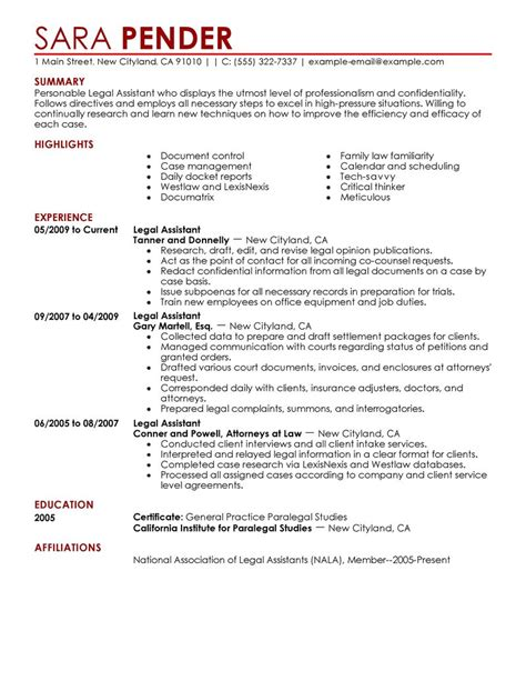 legal assistant resume example law sample resumes