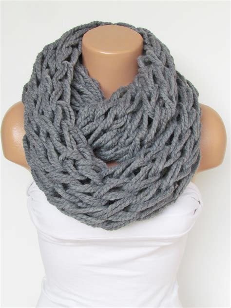 knitted scarf infinity gray scarf neckwarmer knitted scarf circle loop