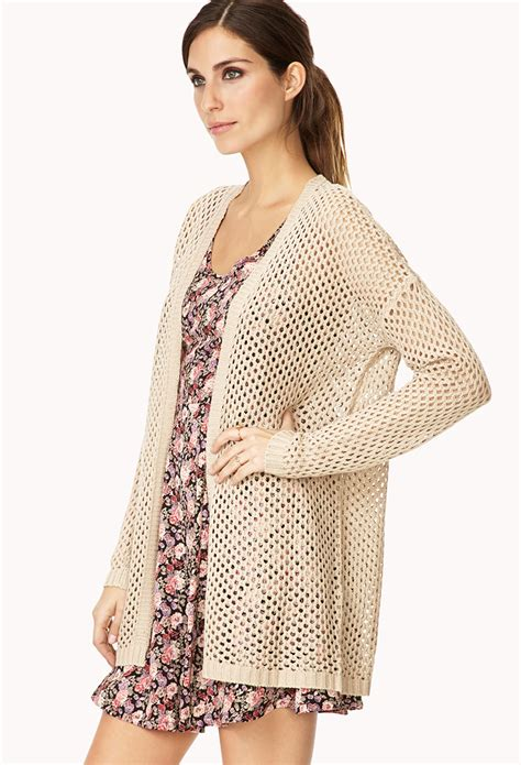 open knit cardigan forever 21 easy open knit cardigan in lyst