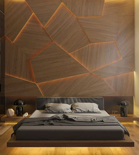 wooden wall bedroom this bedroom has a geometric back lit wood accent wall
