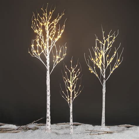 silver tree with lights 120led 2 1m 7ft silver birch twig tree light decorative