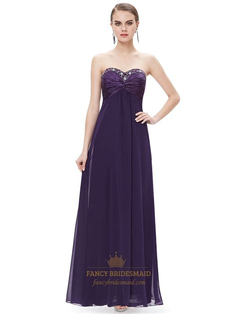 beaded chiffon bridesmaid dresses purple chiffon sweetheart empire bridesmaid dresses with