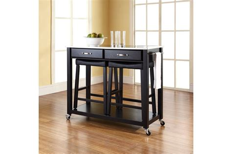 black kitchen island with stainless steel top stainless steel top kitchen cart island in black with 24 quot black upholstered saddle stools by crosley
