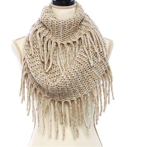fringe on scarf knitting ivory knit fringe infinity scarf os from s