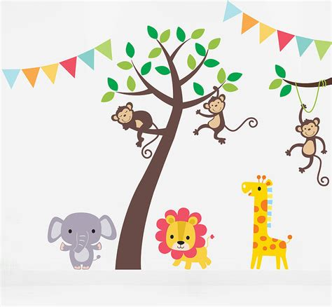 jungle friends tree wall stickers by parkins interiors