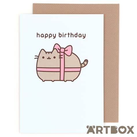 how to make happy birthday cards buy pusheen the cat happy birthday ribbon greeting card at