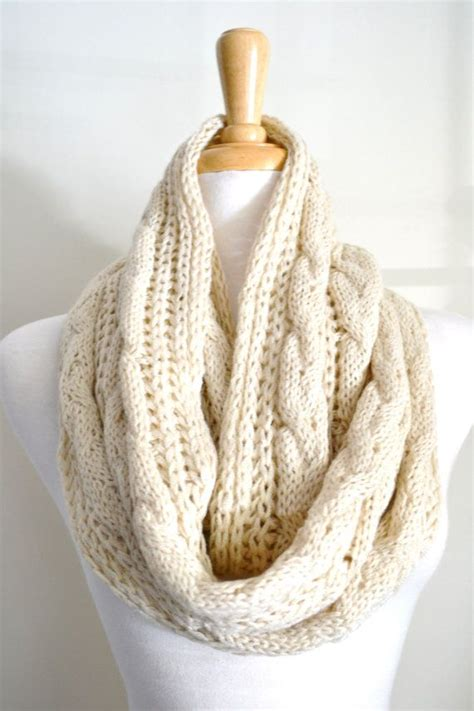 how to knit a cable scarf oatmeal creme beige cable knit infinity loop scarf