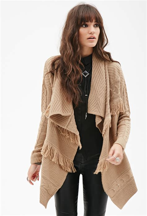 knit cardigan forever 21 forever 21 cable knit fringe cardigan in brown lyst