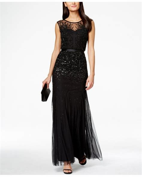 sleeveless beaded illusion gown papell sleeveless beaded illusion gown in black