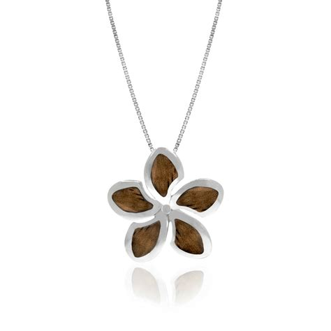 jewelry companies koa wood hawaiian plumeria pendant necklace