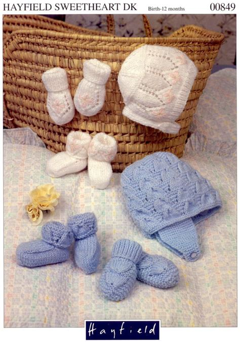 knitting set knit hats mittens and booties set vintage pattern baby