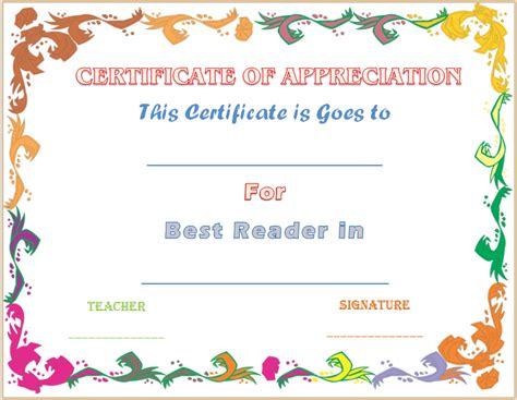 best reader certificate of appreciation template for accelerated