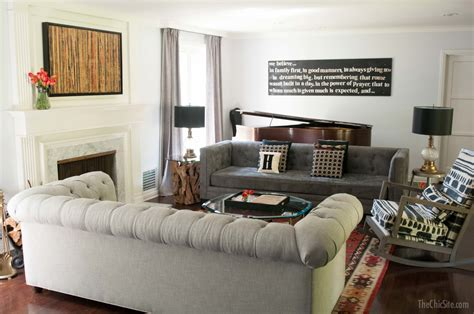 sofas in living room living room makeover the chic site