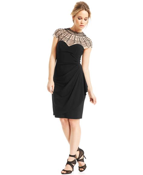beaded illusion cocktail dress xscape beaded illusion yoke cocktail dress in black lyst