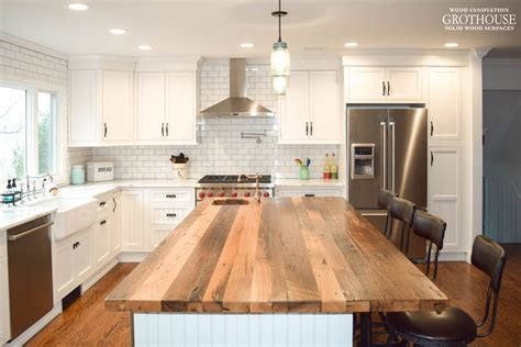 wood top kitchen island reclaimed chestnut kitchen island countertop designed by