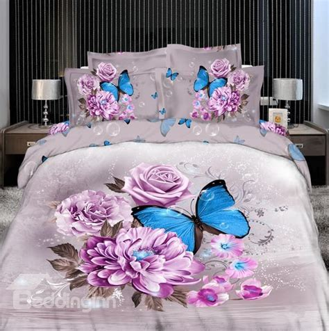 purple flower with butterfly print 4 bedding