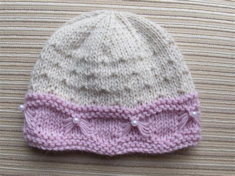 baby knitted hats baby hat with butterfly stitch trim by knittinkitty craftsy