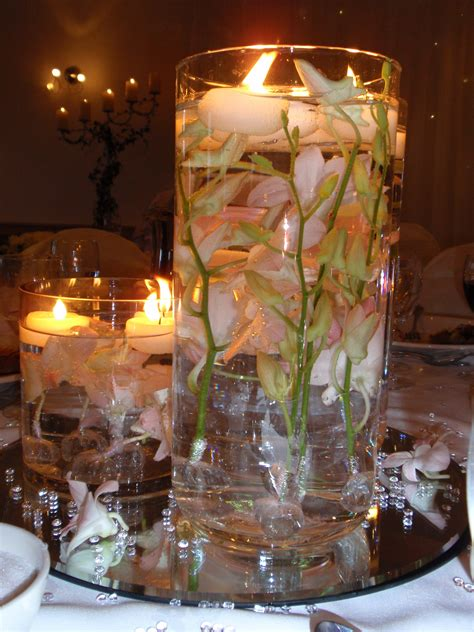table centerpieces candles wedding centerpieces candles with flowers on square glass
