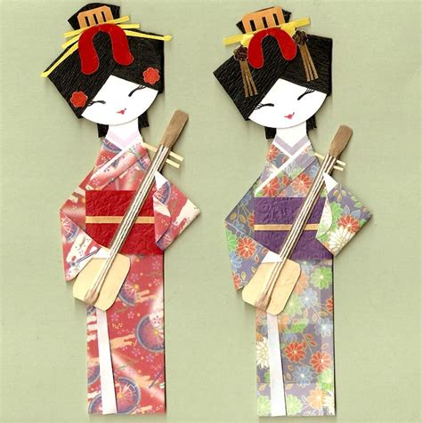 origami doll japanese geisha in kimono with shamisen origami paper doll