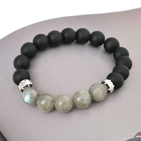 pics of beaded bracelets chic sterling silver onyx labradorite beaded bracelets