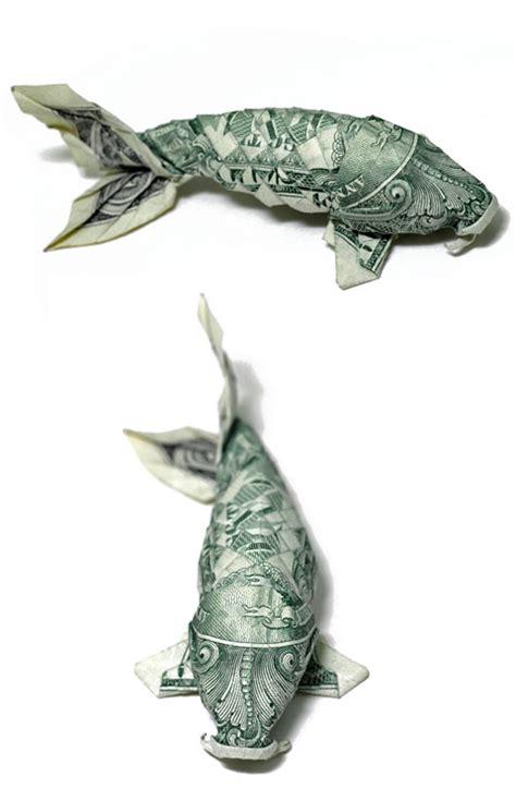origami dollar koi fish seawayblog 10 origami of aquatic animals folded with 1