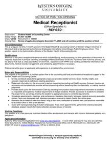 medical receptionist sample resume job position in a front