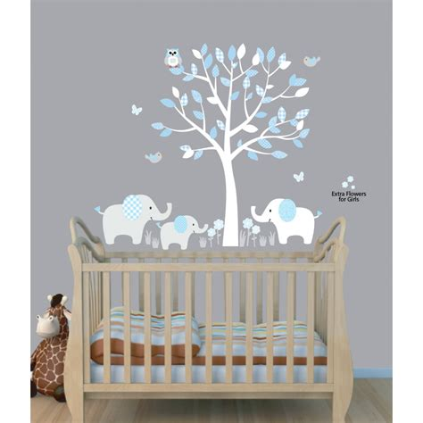 boys nursery wall decals baby blue tree wall decals with elephant stickers for nursery