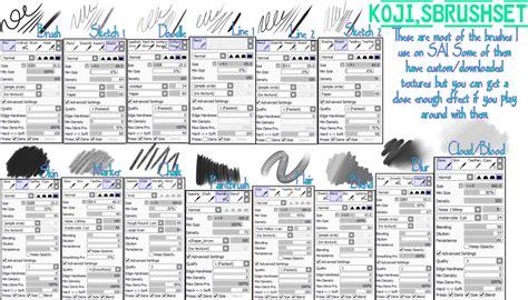 paint tool sai default brushes koji s sai brush settings by k o j i on deviantart