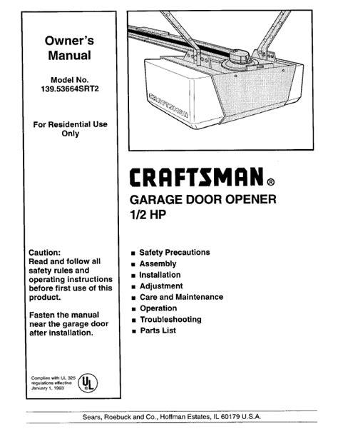 overhead door manuals overhead door opener manual search craftsman craftsman
