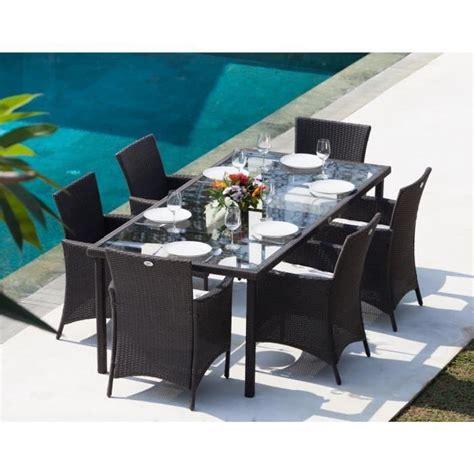ensemble table de jardin 220cm et 6 fauteuils r 233 sine tress 233 e gris anthracite achat vente