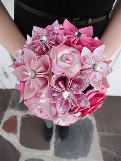 origami kusudama flower bouquet wedding flowers pink paper flower bridesmaid bouquet