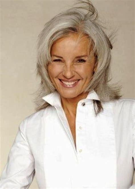 mid length grey hair women with gray hair 2015 best medium length haircuts