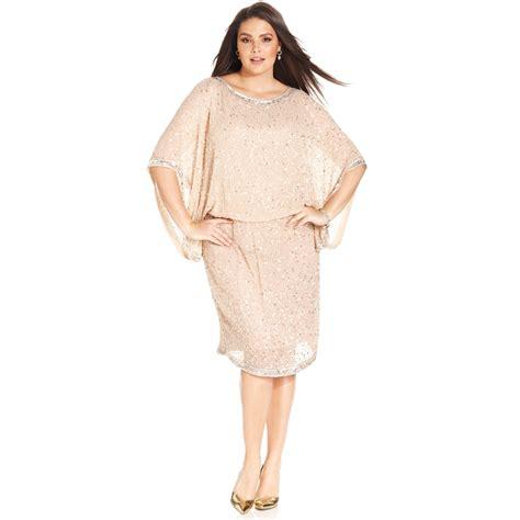 patra beaded dress patra plus size kimonosleeve beaded dress in pink lyst