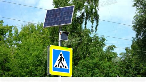 solar powered pedestrian crossing lights traffic light with pedestrian crossing sign the light is