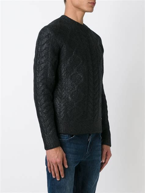 black cable knit sweater dsquared 178 cable knit sweater in black for lyst