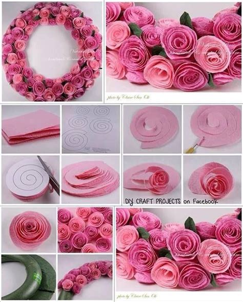 craft paper flowers roses diy felt wreath pictures photos and images for