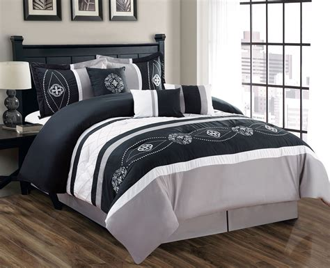 comforter set 7 floral embroidered black gray white comforter set