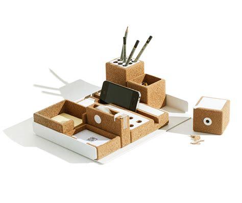 designer desk organizer desk accessories made of cork and aluminum design milk